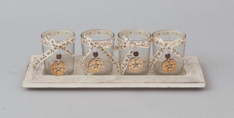 Vassoi In Legno Con Vetro : Portacandele con vassoio in legno e vasetti in vetro candele
