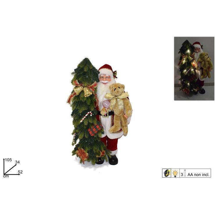 Babbo Natale 105.Babbo Natale C Albero C Luci E Suono Cm 105