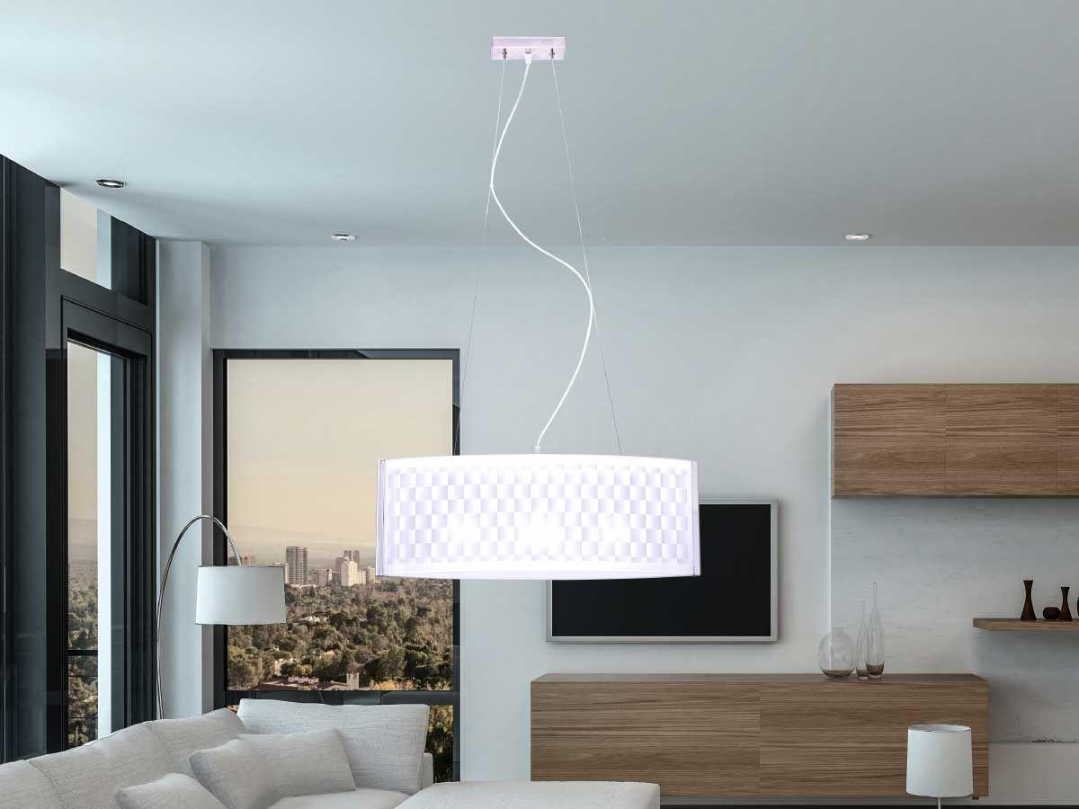 Sosp. scacchi 65 cm 3x42w cv bianco lampadario illuminazione da
