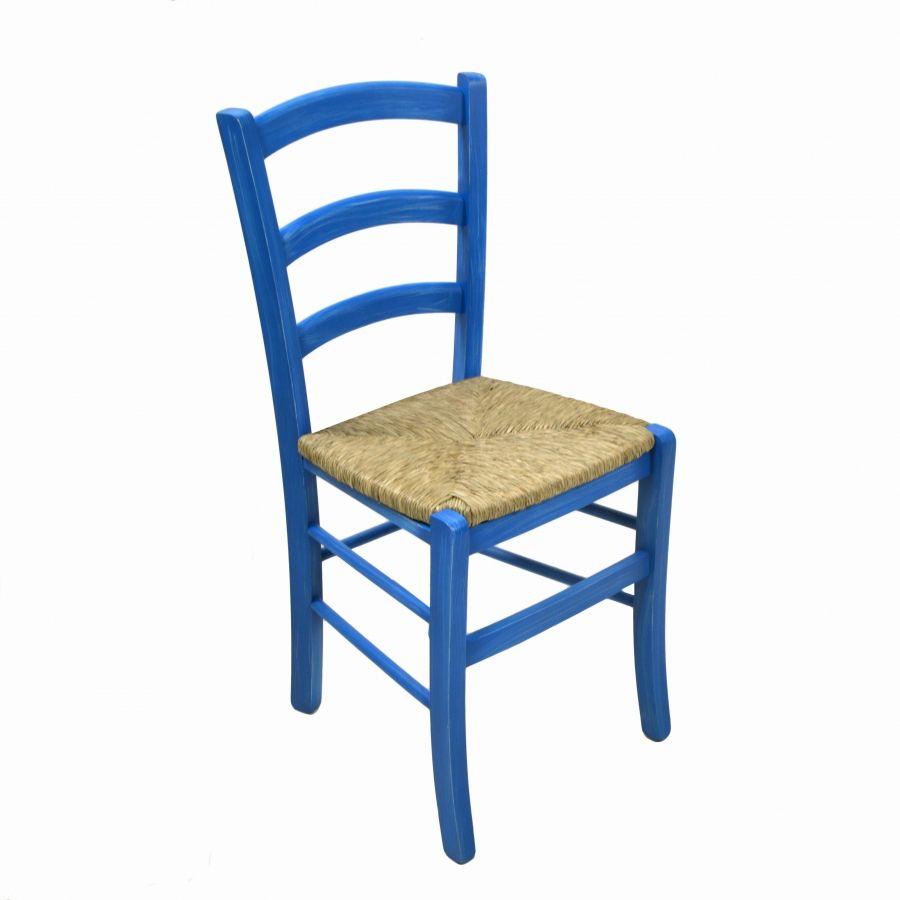 Sedia legno paesana faggio laccato blu sedie arredi e for Sedie blu cucina